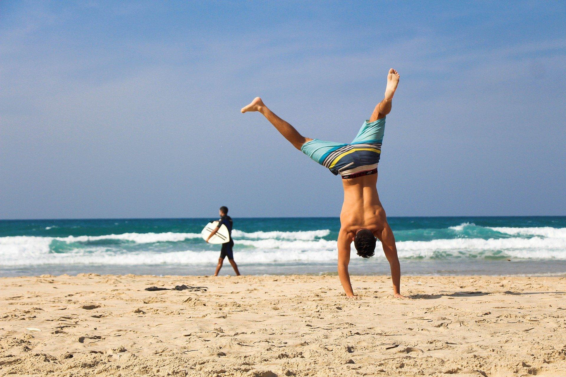 man healthy handstand